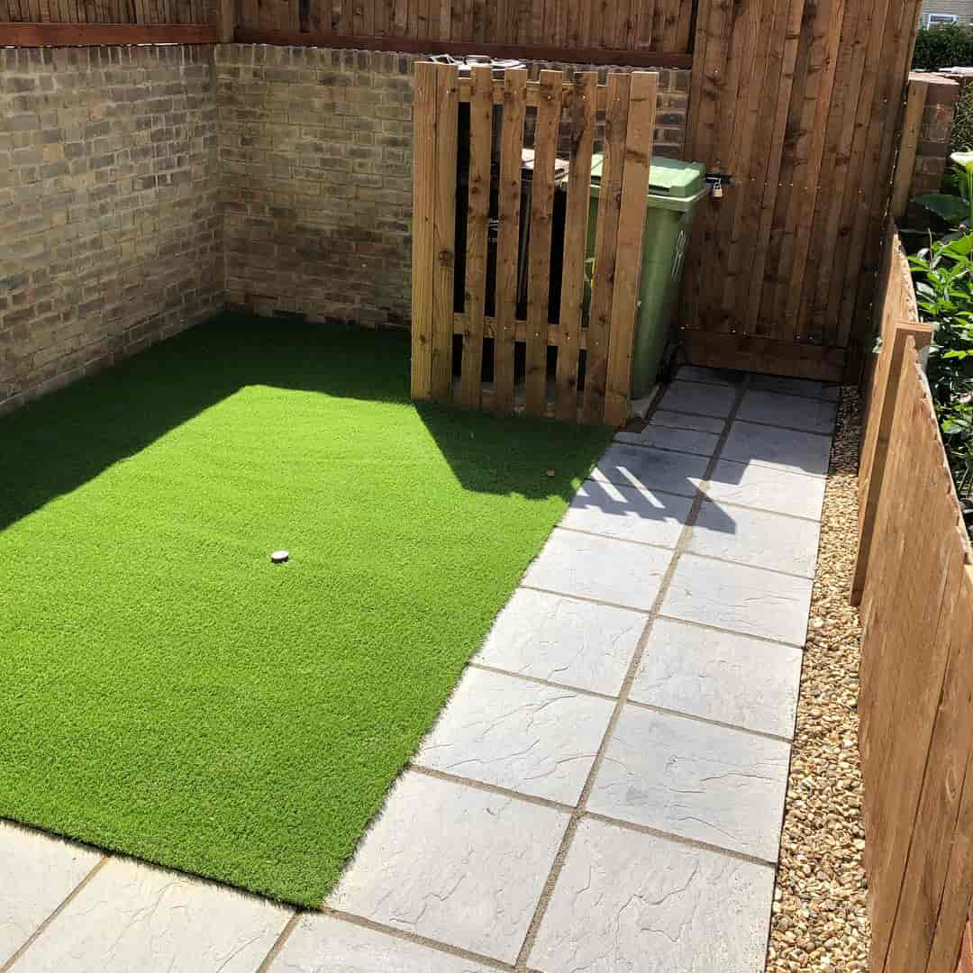 Garden after laying of artificial grass has been finished