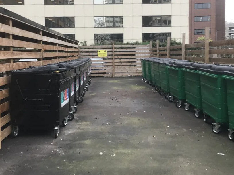 Office bins after waste collection