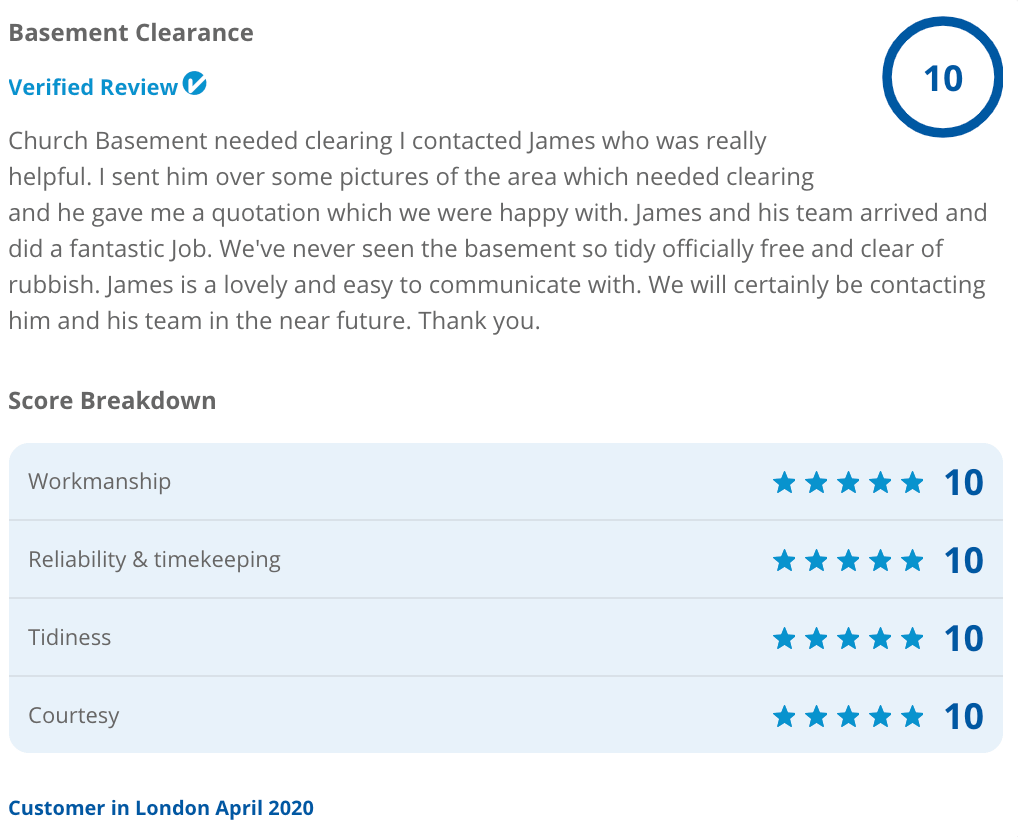 Recent customer feedback for basement waste clearance