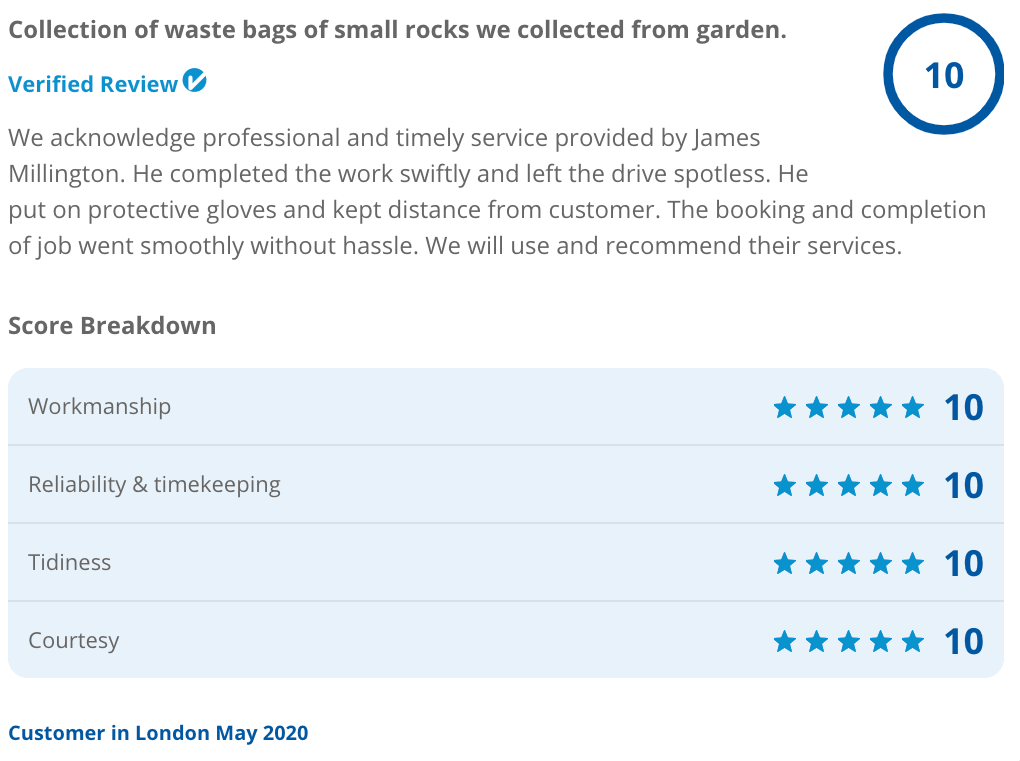 Recent Checkatrade review for garden waste clearance