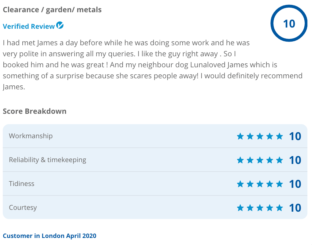 Checkatrade customer feedback for garden waste clearance