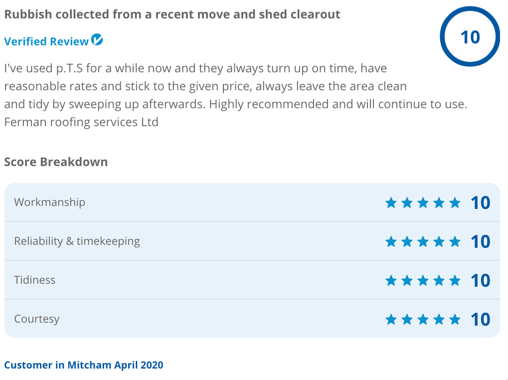 Garden shed clearout review from Checkatrade customer